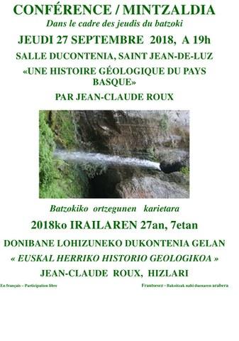 """Jean-Claude Roux """"Euskal Herriko historia geologikoa"""""""