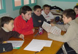 Unos alumnos en una ikastola