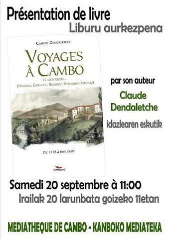 """""""Voyages à Cambo et alentours..."""" liburuaren aurkezpena"""