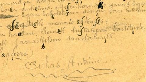 EKE-k transkribatu du 1917an Antoine Suhas presoak Alemanian idatzi gutuna