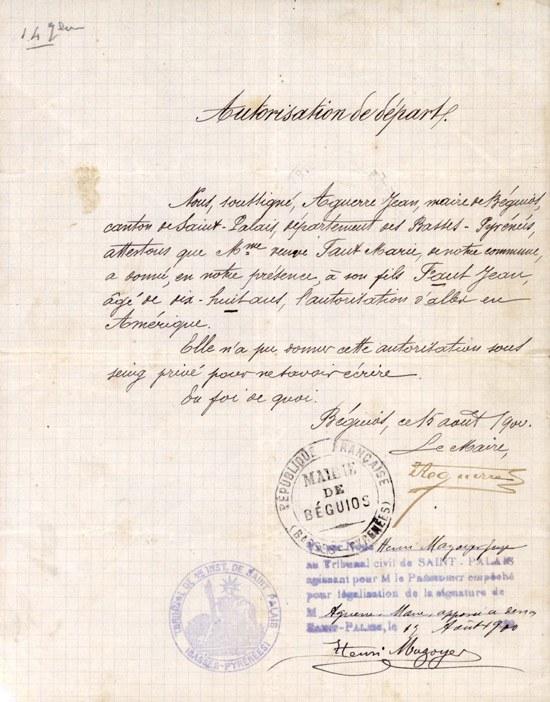 Abiatzeko baimena - Autorisation de départ (Collection musée de Basse Navarre)
