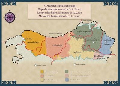 Koldo Zuazoren euskalkien mapa (cc-by-sa Azkue Fundazioa)