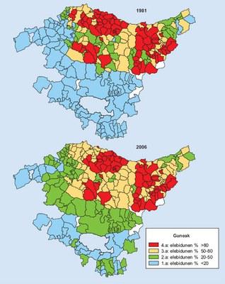 Gune soziolinguistikoen bilakaera Euskal Autonomia Erkidegoan (1981 - 2006 / Iturria: Eustat)