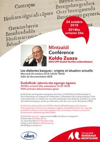 "Koldo Zuazo ""Les dialectes basques : origine et situation actuelle"""