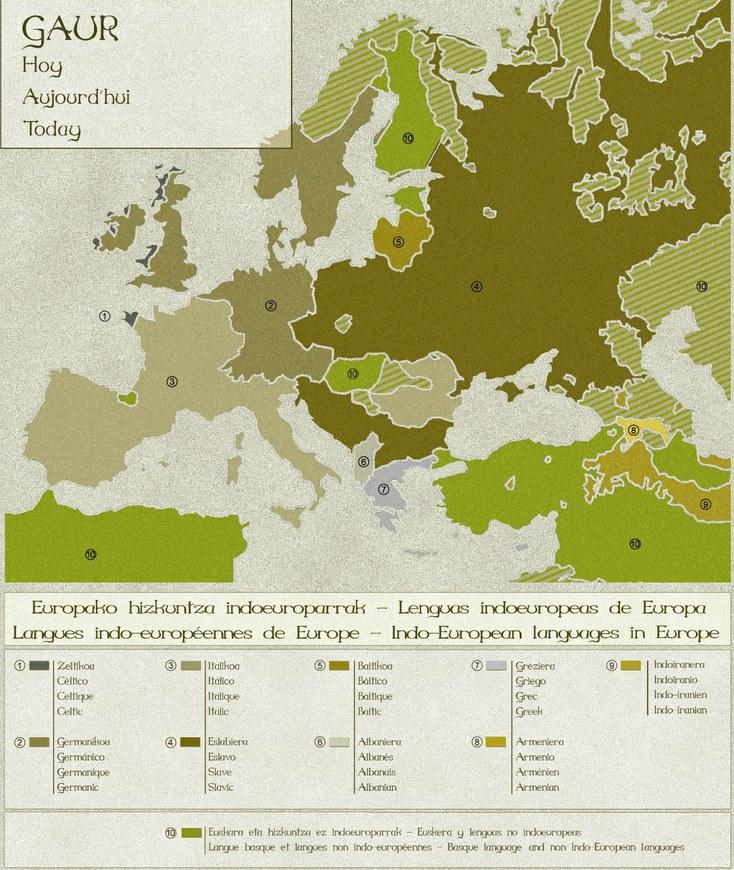 Langues indo-européennes : répartition. Source : CC-BY-SA Azkue Fundazioa