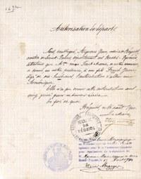 Autorisation de départ, fonds Apheça, collection Musée de Basse Navarre