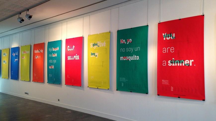 "Exposition ""In Varietate Concordia"" de Marga Berra Zubieta à la médiathèque de Biarritz (2017) © ICB"